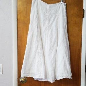 Long white linen skirt